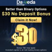 Daweda Binary Options Exchange – 30$ No Deposit Bonus and 100% Profit On Your Each Trade!